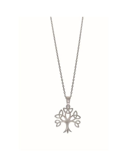 """JewelryAffairs - Metallic Sterling Silver Tree Of Life Pendant Womens Necklace, 18"""" - Lyst"""