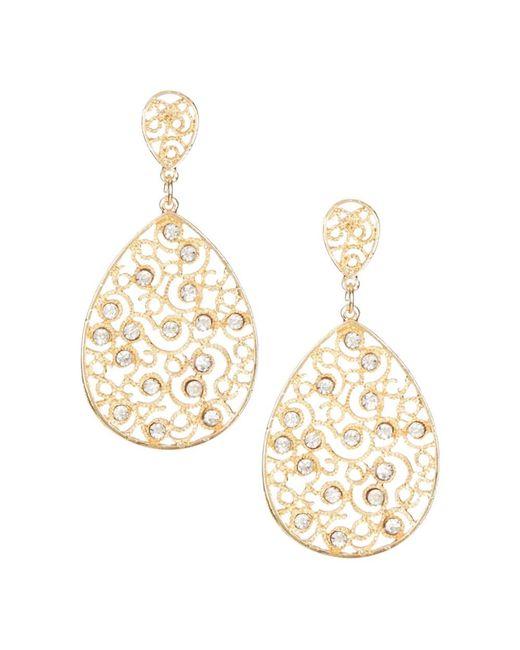 Sparkling Sage   Metallic 14k Plated Crystal Filigree Earrings   Lyst