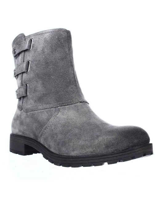 Naturalizer - Gray Tynner Triple Side Strap Boots, Grey Suede - Lyst