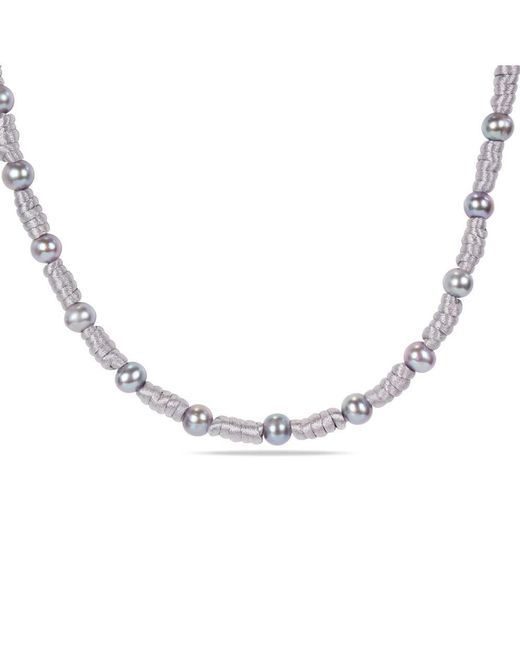 Catherine Malandrino - Metallic Grey Chinese String Necklace With Freshwater Cultured Pearls - Lyst