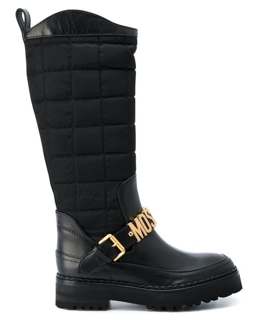 Moschino - Black Logo Buckle Boots - Lyst