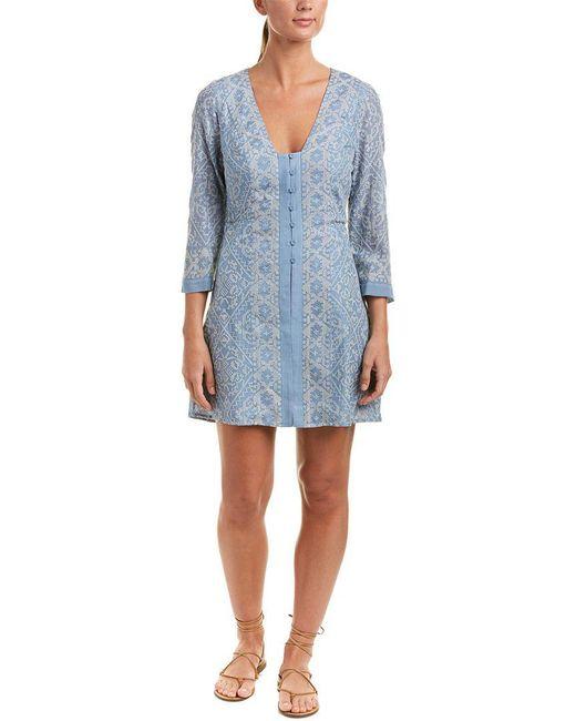 BCBGMAXAZRIA - Blue Embroidered Shift Dress - Lyst