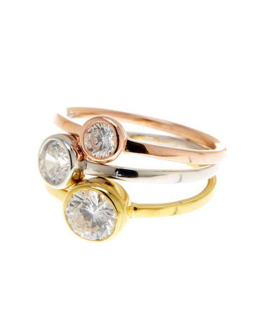 Adornia - Rose And Yellow Gold Vermeil Tri-color Stackable Trio Round Bezeled Swarovski Ring - Lyst