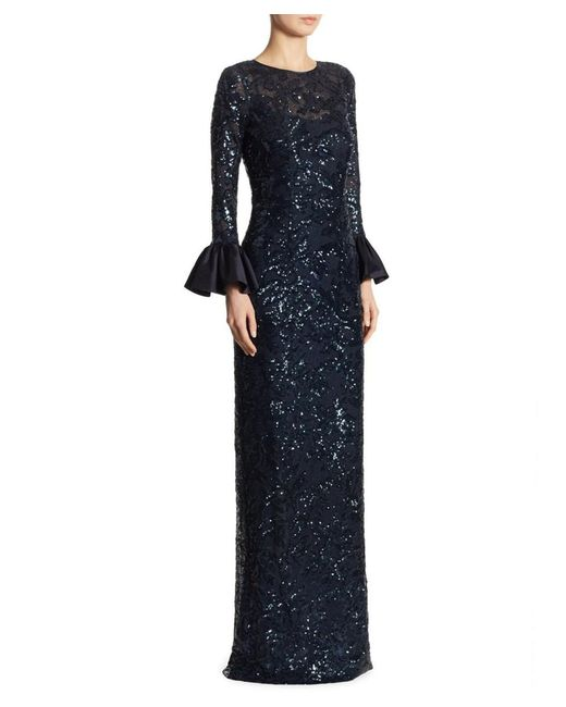 Teri Jon - Blue Sequined Bell-sleeve Gown - Lyst