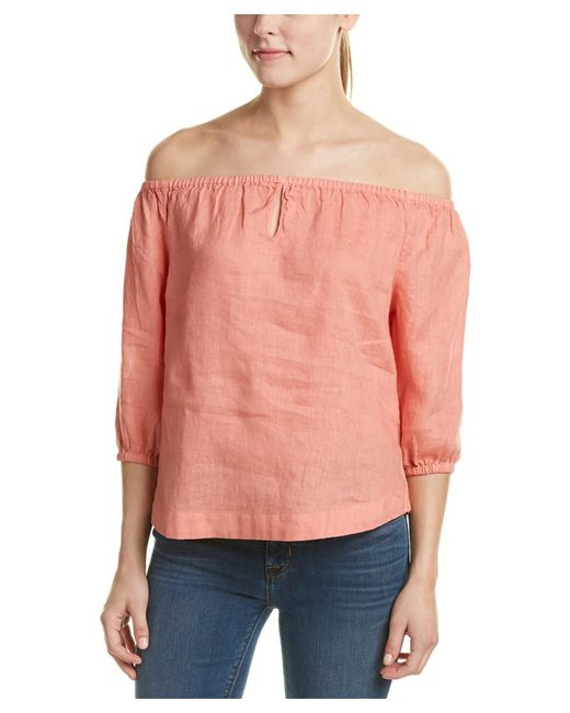 Young Fabulous & Broke - Orange Young Fabulous & Broke Globe Off-the-shoulder Linen Top - Lyst
