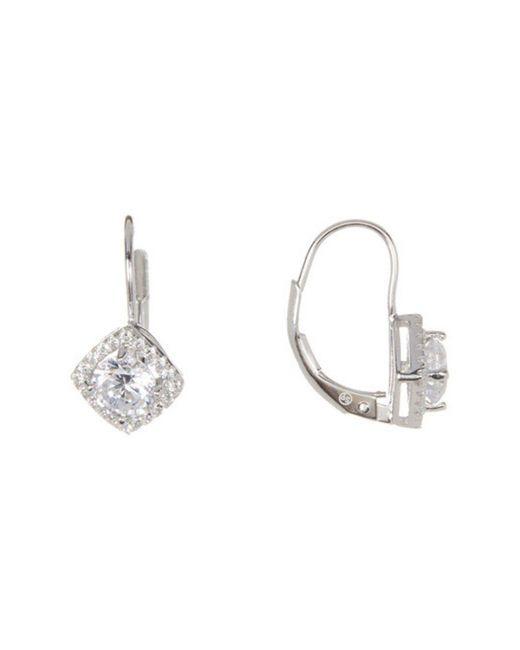 Adornia - Metallic Sterling Silver And Swarovski Crystal Diamond Shaped Huggie Halo Earrings - Lyst