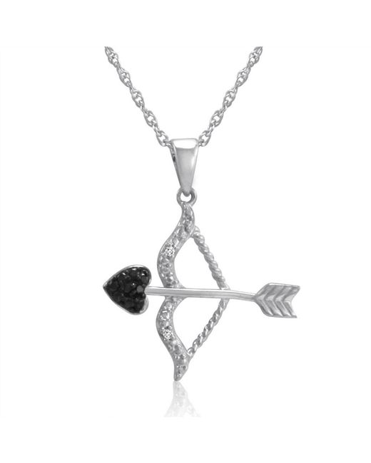Amanda Rose Collection - Metallic Black And White Diamond Bow And Arrow Pendant-necklace In Sterling Silver - Lyst