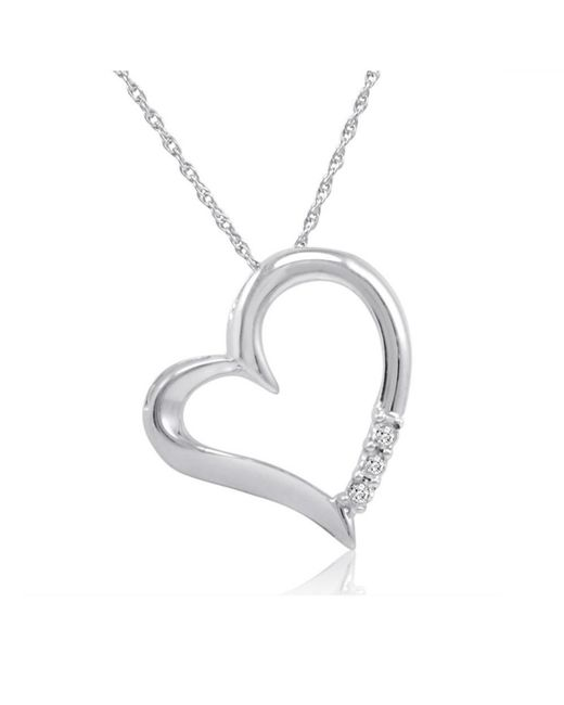 Amanda Rose Collection - Metallic Three Stone Diamond Heart Pendant-necklace In Sterling Silver On An 18inch Chain - Lyst