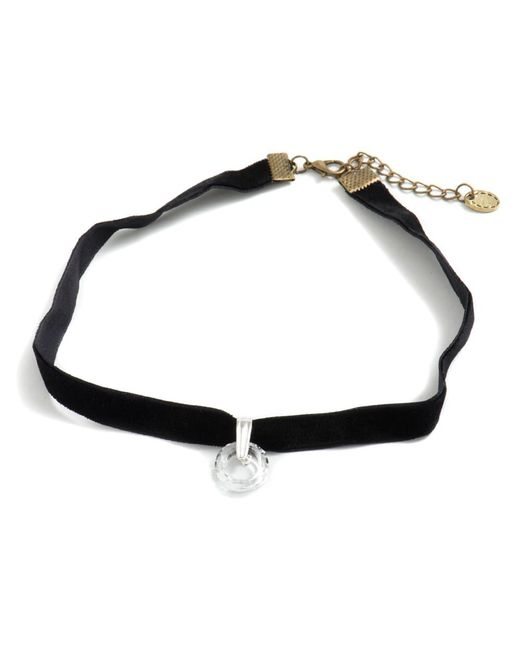 Barzel - Metallic Genuine Swarovski Cosmic Ring Clear Crystal Pendant In Choker Necklace - Lyst