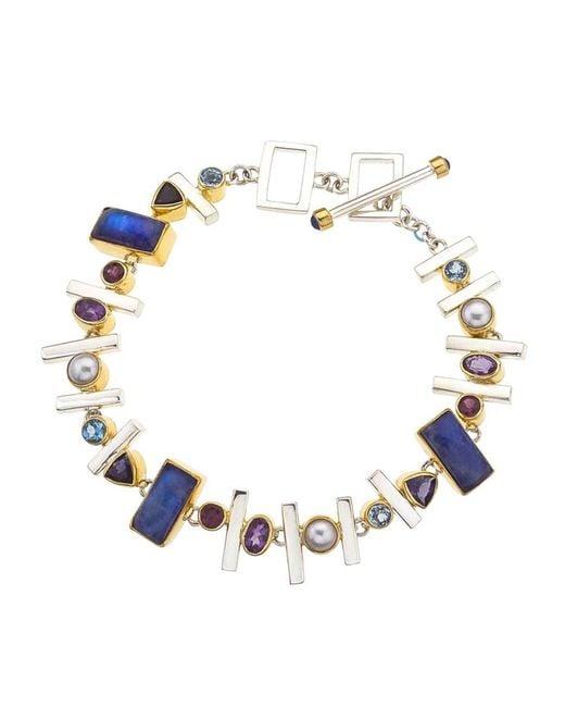 Jewelista - White Silver Bracelet With Multicolored Gemstones - Lyst
