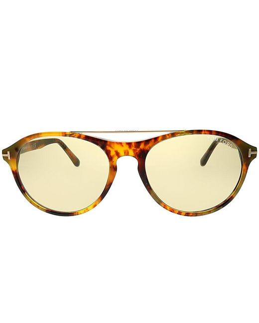 6a05c01f6b8b ... Tom Ford - Multicolor Cameron Ft 0556 55e 53mm Light Havana Round  Sunglasses - Lyst ...