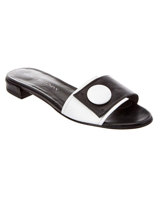 Stuart Weitzman - Black Buttoni Leather Sandal - Lyst