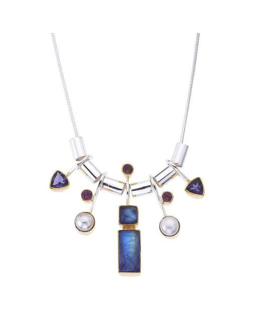 Jewelista | White Sterling Silver Gemstone Necklace | Lyst