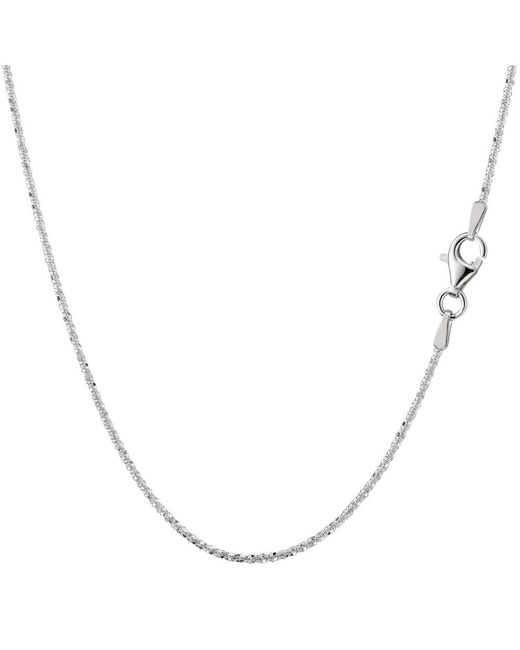 JewelryAffairs | White Sterling Silver Rhodium Plated Sparkle Chain Necklace, 1,5mm, 18 | Lyst