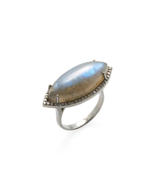 Adornia | Gray Labradorite And Champagne Diamond Marquis Cocktail Ring | Lyst