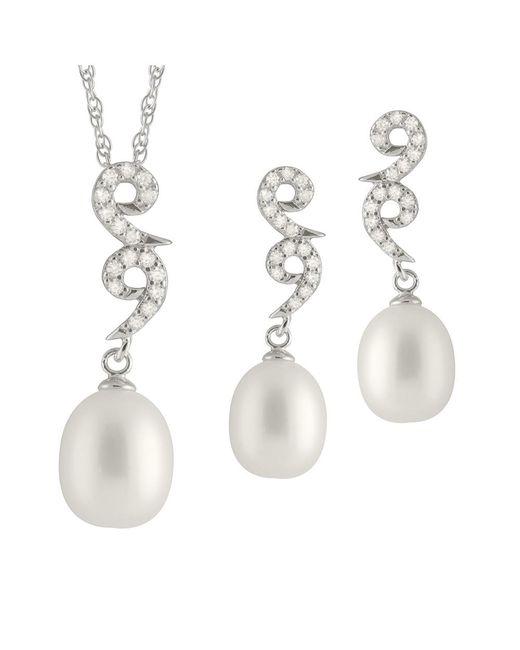 Splendid - Metallic Fancy Dangling Cz Pearl Set - Lyst