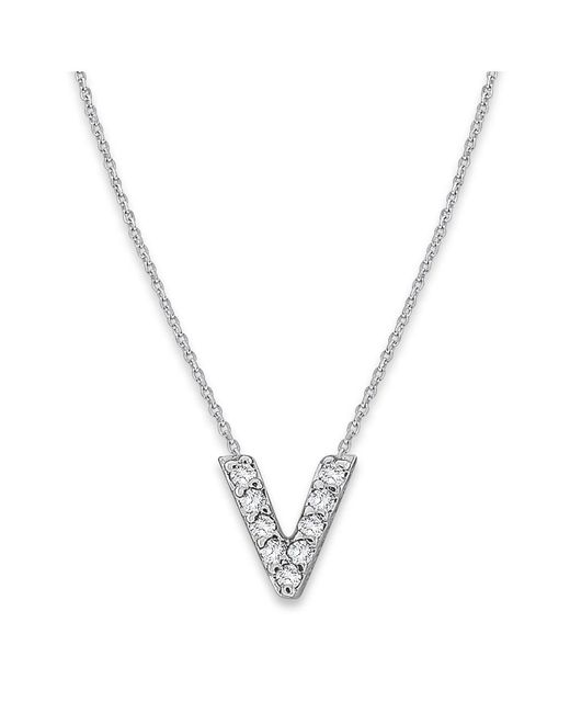KC Designs - White 14k Gold And Diamond Lowercase Initial Necklace, V - Lyst