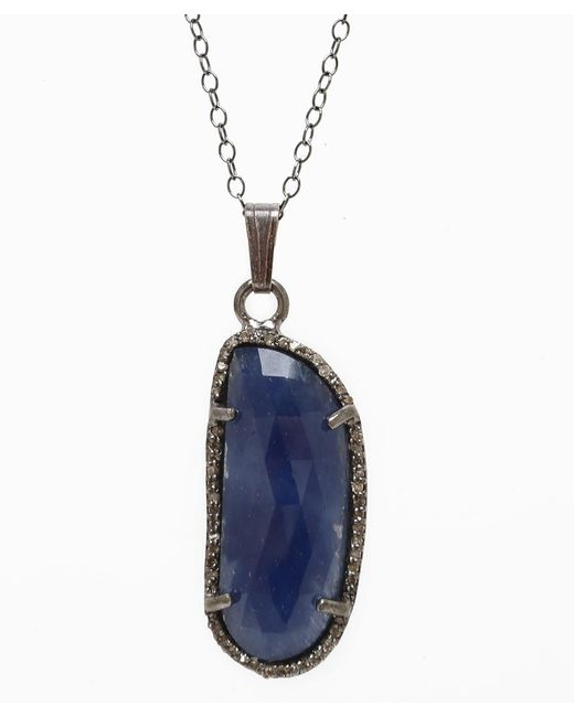 Adornia - Metallic Blue Sapphire And Champagne Diamond Mira Necklace - Lyst