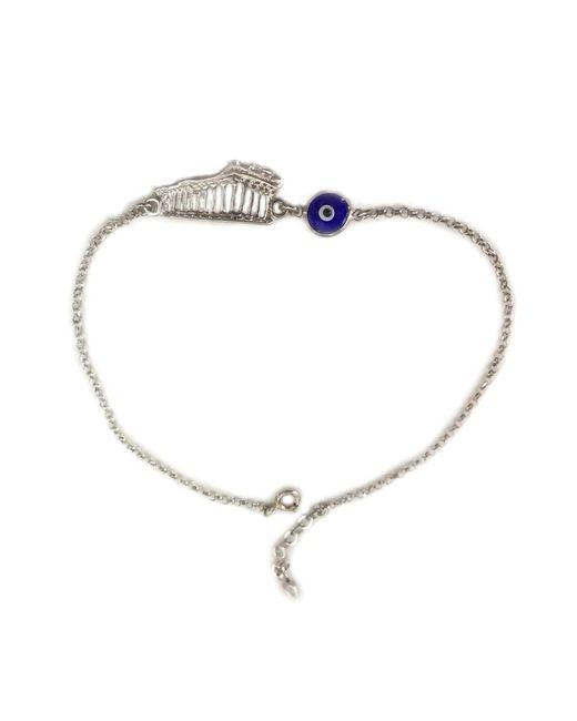 "JewelryAffairs - Metallic Sterling Silver Greek Acropolis Parthenon Double Sided Evil Eye Adjustable Bracelet, 7"" To 8.5 - Lyst"