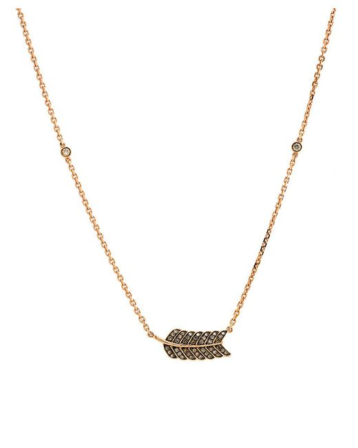 CR By Casa Reale | Metallic 18 K Gold Champagne Diamond Feather Necklace | Lyst