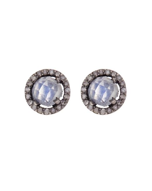Adornia - White Moonstone And Champagne Diamond 5mm Echo Halo Stud Earrings - Lyst