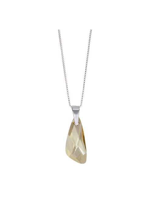 Barzel - Metallic Genuine Swarovski Wing Golden Shade Crystal Pendnat In Sterling Silver Chain Necklace - Lyst
