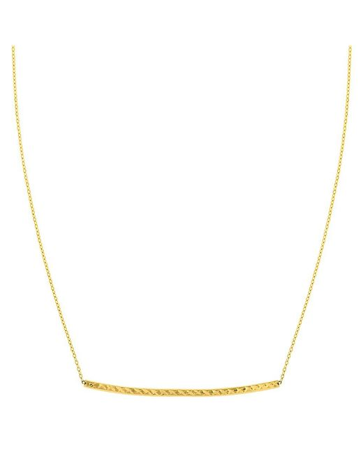 "JewelryAffairs | 14k Yellow Gold Diamond Cut Sideways Curved Bar Pendant On 17"" Necklace | Lyst"