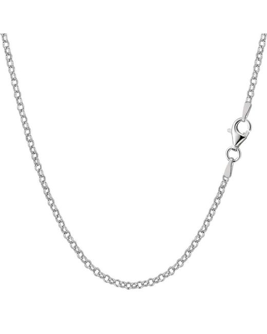 JewelryAffairs - White Sterling Silver Rhodium Plated Rolo Chain Necklace, 1,8mm, 18 - Lyst