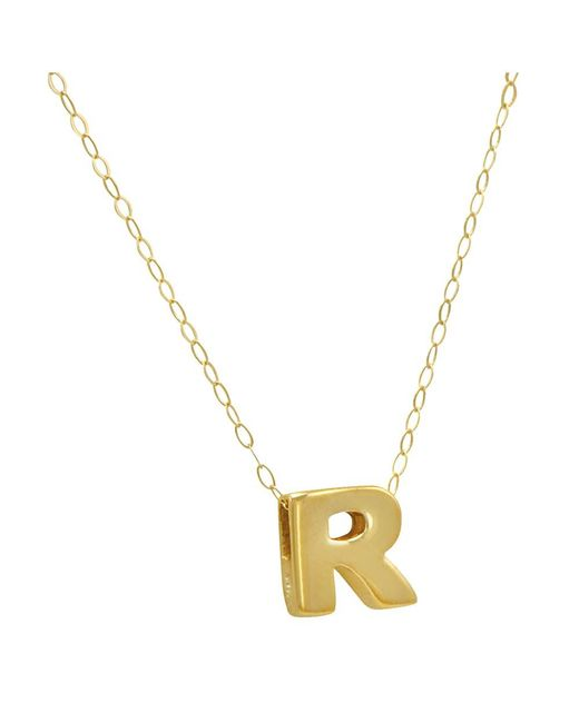 "Amanda Rose Collection - Metallic Amanda Rose 10k Yellow Gold Petite Initial ""r"" Pendant-necklace On A 17 In. Chain - Lyst"
