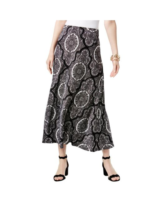 INC International Concepts - Black Inc Womens Baroque Printed Maxi Skirt - Lyst