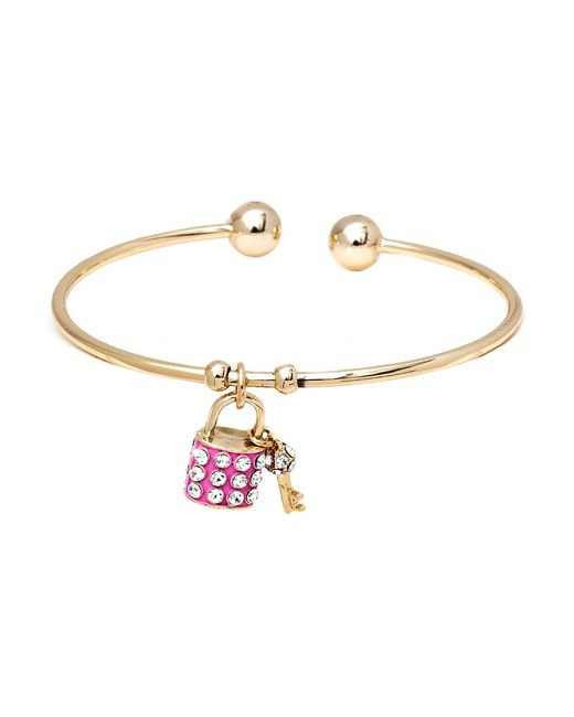 Peermont | Metallic Gold And White Swarovski Elements Key And Lock Charm Bangle | Lyst