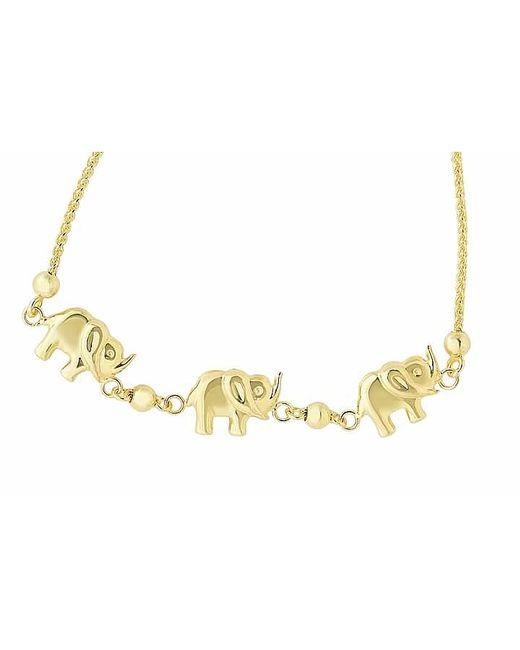 Tia Collections   Metallic 14kt Yellow Gold 3-raised Trunk Elephant Bracelet   Lyst