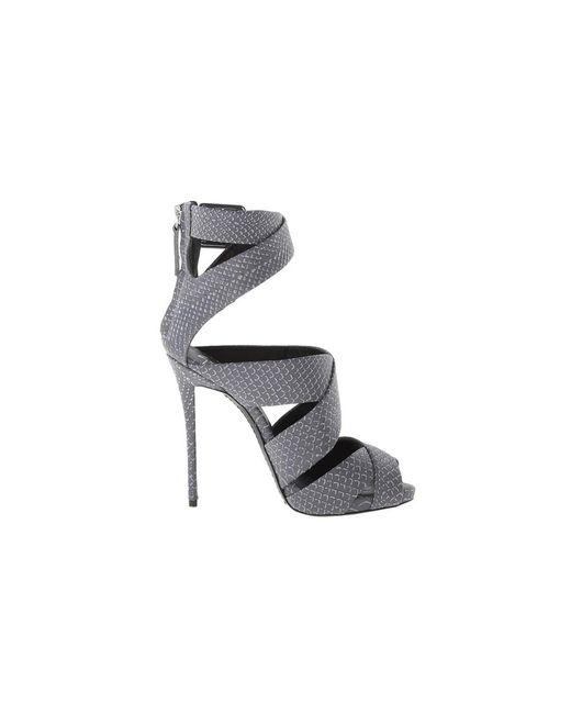 Giuseppe Zanotti | Gray Design Women's Grey/black Leather Sandals | Lyst