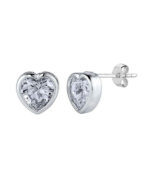 JewelryAffairs | White Sterling Silver Rhodium Finish Heart Bezel Set Cubic Zirconia Stud Earring | Lyst