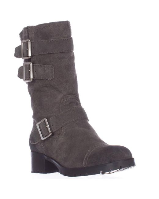 Marc Fisher - Arianna Mid Calf Lug Sole Motorcycle Boots - Gray - Lyst
