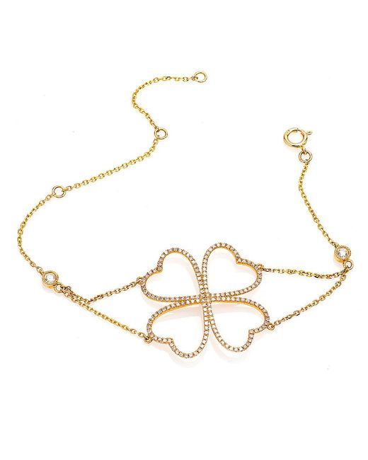 CR By Casa Reale | Metallic 14 K White Diamond 4 Heart Flower Chain Bracelet | Lyst