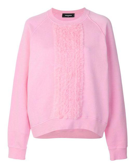 DSquared² - Women's Pink Cotton Sweatshirt - Lyst