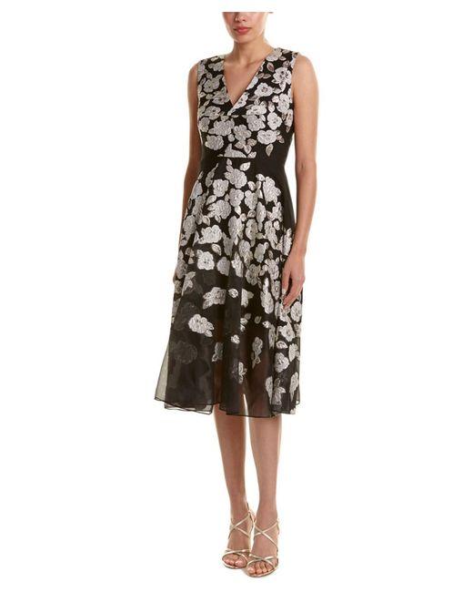 Lela Rose | Black Silk-blend Midi Dress | Lyst