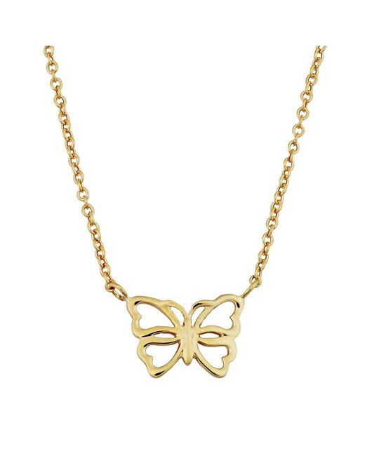 "JewelryAffairs - 14k Yellow Gold Butterfly Pendant On 17"" To 18"" Adjustable Necklace - Lyst"
