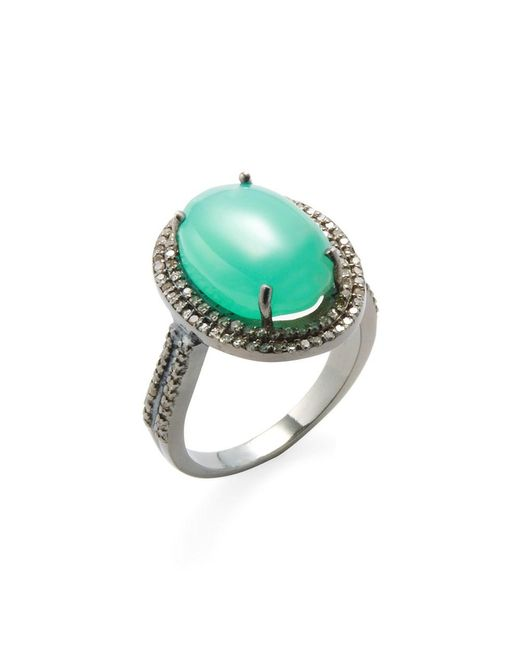 Adornia | Green Chrysoprase And Champagne Diamond Gemma Ring | Lyst