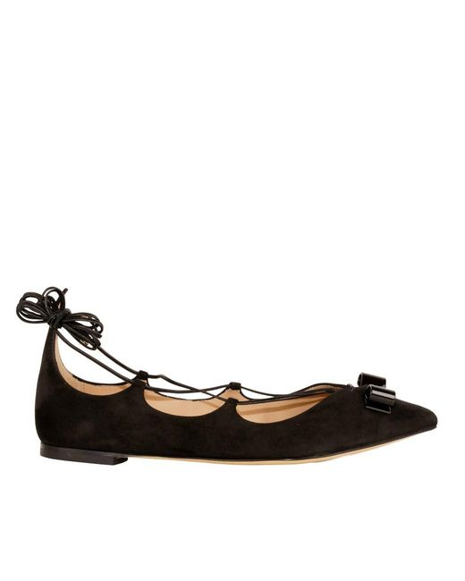 Ferragamo | Women's 0639037 Black Suede Flats | Lyst