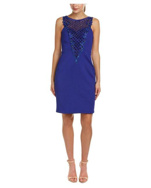 Sue Wong - Blue Sheath Dress - Lyst