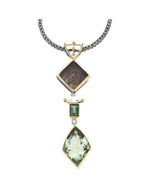 Jewelista | Silver Pendant With Green Amethyst, Gems | Lyst