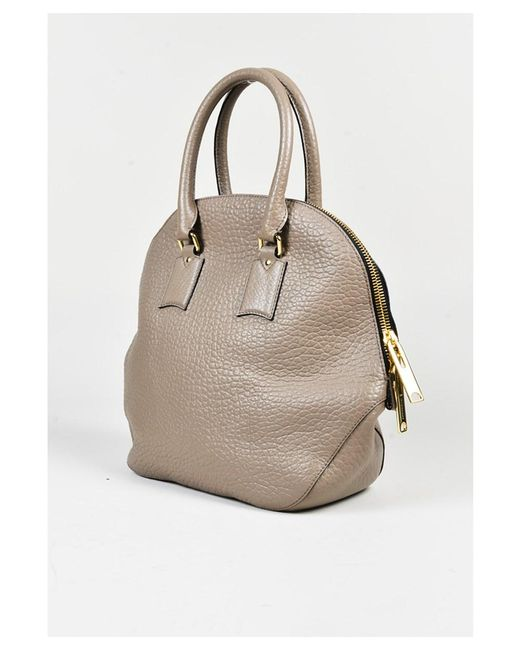 ce0eb776786a ... Burberry - Gray 1 Taupe Grained Leather Medium