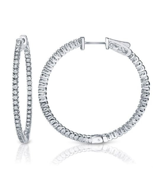Suzy Levian | Pink 14k White Gold 1.6ct Tdw Inside Out Diamond Hoop Earrings | Lyst