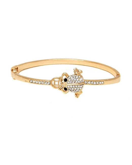 Peermont - Metallic Gold And Swarovski Elements Frog Bangle - Lyst