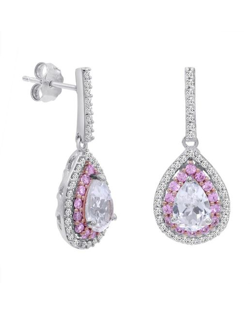 Amanda Rose Collection - Metallic Lab Grown Pink And White Sapphire Dangle Tear Drop Earrings In Sterling Silver - Lyst
