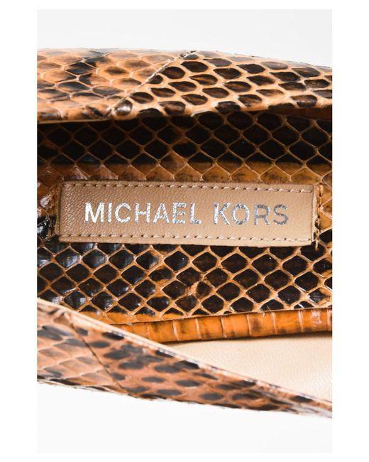 b5d455c08b5f ... Michael Kors - 11 Nib Black Brown Snakeskin Valari Peep Toe Wedges Sz 39  - Lyst
