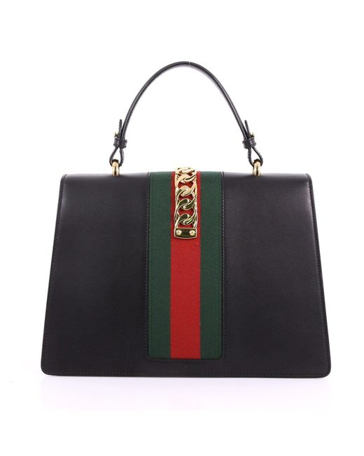 49c637060 ... Gucci - Black Pre Owned Sylvie Top Handle Bag Leather Medium - Lyst ...