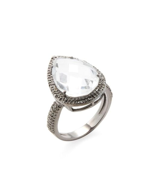 Adornia - Metallic Sterling Silver And Champagne Diamond Pear Shaped Clear Quartz Ring - Lyst